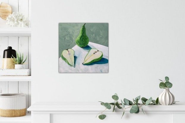 (CreativeWork) Conference Pears by Dominika Keller. Acrylic Paint. Shop online at Bluethumb.