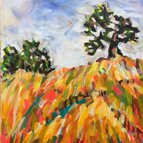 (CreativeWork) Girl in a field by Christine Curtis. Acrylic Paint. Shop online at Bluethumb.