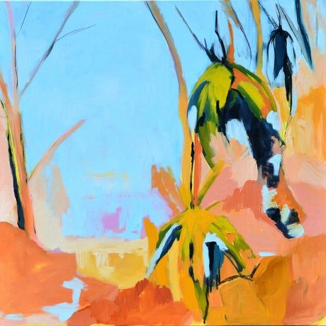 (CreativeWork) Grasstrees in the Sun - II by Lydie Paton. Oil Paint. Shop online at Bluethumb.