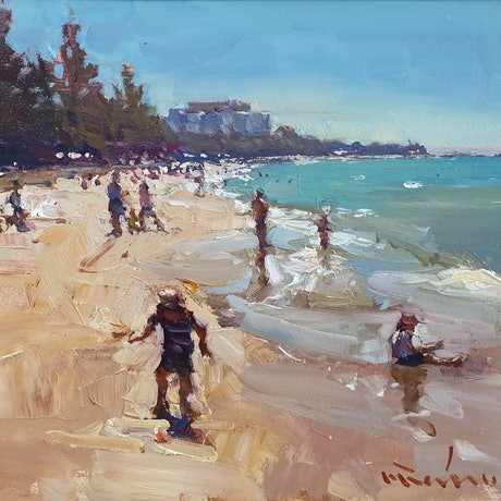 (CreativeWork) Sunday afternoon at Sutton beach by Minhan Cho. Oil Paint. Shop online at Bluethumb.