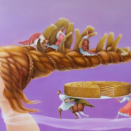 (CreativeWork) The Russian Cake by Yulia Pustoshkina. Oil Paint. Shop online at Bluethumb.