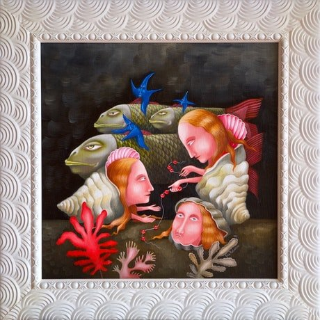 (CreativeWork) Pearl Hunters by Yulia Pustoshkina. Oil Paint. Shop online at Bluethumb.