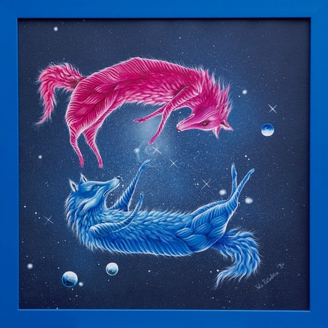 (CreativeWork) Cosmic Love | surrealism  by Yulia Pustoshkina. Acrylic Paint. Shop online at Bluethumb.