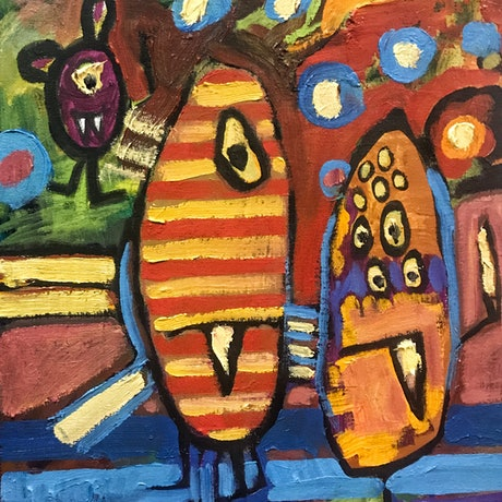 (CreativeWork) Monsters on Prom Night by Leon Fernandes. Oil Paint. Shop online at Bluethumb.