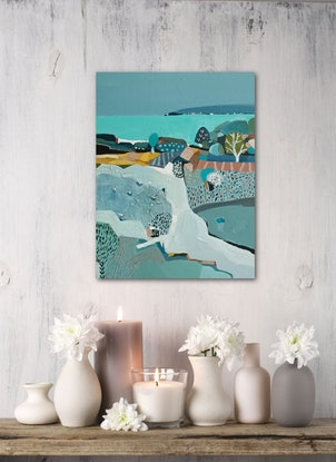 (CreativeWork) Abstract Landscape - Seaside Path # 2 by Susan Trudinger. Acrylic Paint. Shop online at Bluethumb.