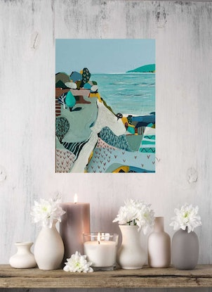 (CreativeWork) Abstract Landscape - Seaside Path # 3 by Susan Trudinger. Acrylic Paint. Shop online at Bluethumb.