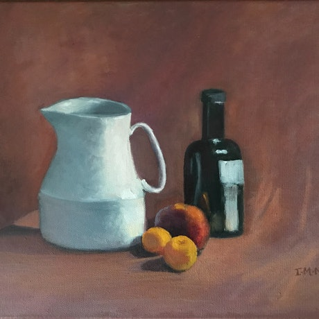 (CreativeWork) White Jug, Apricots & Bottle  by Ishbel Morag Miller. Oil Paint. Shop online at Bluethumb.