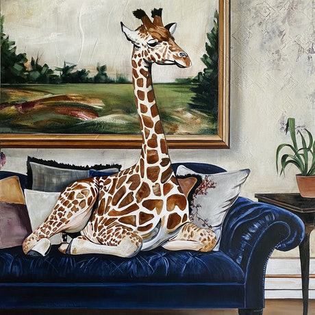 (CreativeWork) Lazy Girafternoon 2 by Bonnie Larden. Acrylic Paint. Shop online at Bluethumb.