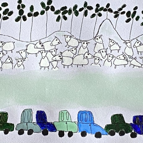 (CreativeWork) Country Scene wit Sheep and Cars by Shelley Allen. Watercolour Paint. Shop online at Bluethumb.