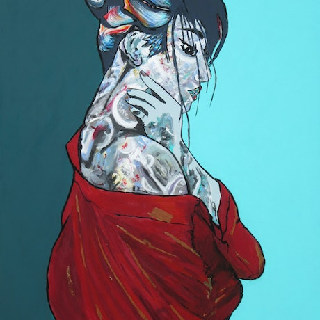 (CreativeWork) Lost in Contemplation by Lesley Taylor. Acrylic Paint. Shop online at Bluethumb.