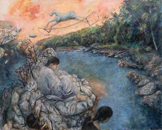 (CreativeWork) Waiting by the river by Marco Corsini. Oil Paint. Shop online at Bluethumb.