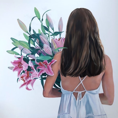 (CreativeWork) The girl in the dress - Lilly original oil painting female with flowers by Mia Laing. Oil Paint. Shop online at Bluethumb.