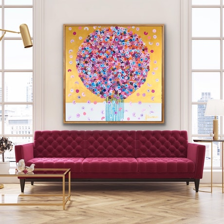 (CreativeWork) Golden posie 102x102 framed large abstract by Sophie Lawrence. Acrylic Paint. Shop online at Bluethumb.