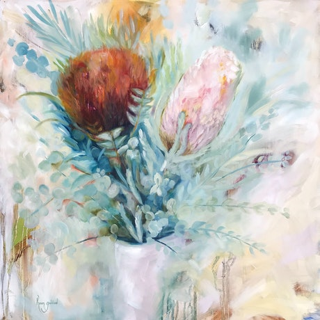 (CreativeWork) Banksia Eucalyptus white vase by Karen Goddard. Oil Paint. Shop online at Bluethumb.
