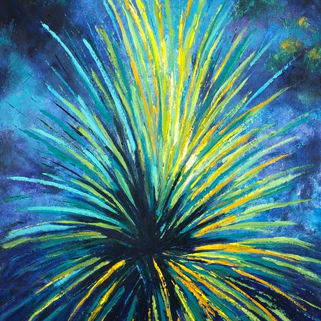 (CreativeWork) Nurragi Grass by Madeleine Elkin. Oil Paint. Shop online at Bluethumb.