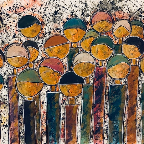 (CreativeWork) Faceless Crowd 2 - CZ20013 by Carol Zsolt. Acrylic Paint. Shop online at Bluethumb.