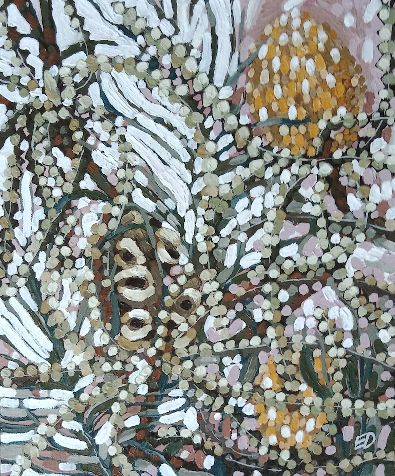 """(CreativeWork) """"STUDY OF SOME TANGLED BANKSIAS"""" by Emily Day. Acrylic Paint. Shop online at Bluethumb."""