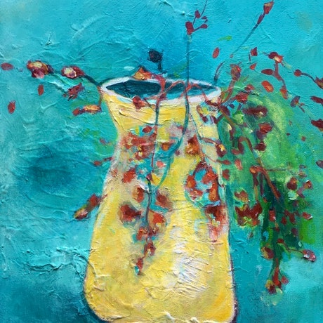 (CreativeWork) Flame tree in a vase by Jennifer Prior. Acrylic Paint. Shop online at Bluethumb.