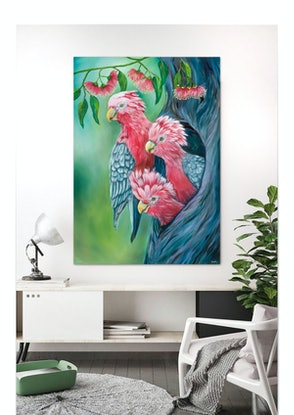 (CreativeWork) Galahs with Gum tree by Eva Chen. Oil Paint. Shop online at Bluethumb.