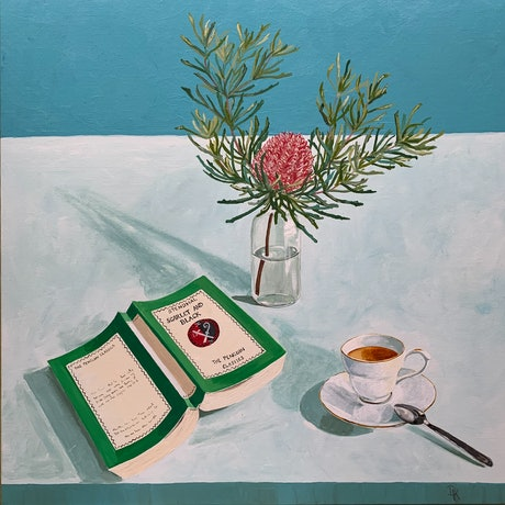 (CreativeWork) Stendhal, Banksia & An Earl Grey Tea by Dominika Keller. Acrylic Paint. Shop online at Bluethumb.