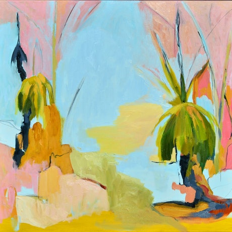 (CreativeWork) Grass Trees After the Fire - II  by Lydie Paton. Oil Paint. Shop online at Bluethumb.