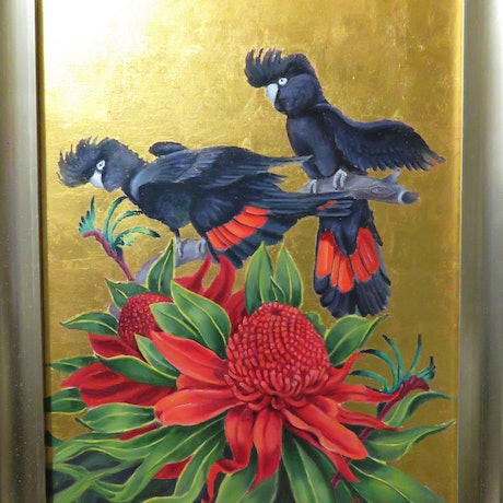 (CreativeWork) Red-tailed Black Cockatoos with Waratah by Rob Davis. Oil Paint. Shop online at Bluethumb.