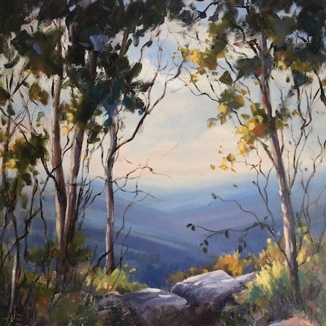(CreativeWork) The lookout, Mt Buffalo. by Vivi Palegeorge. Oil Paint. Shop online at Bluethumb.