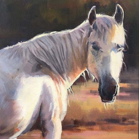(CreativeWork) Equine portrait by Vivi Palegeorge. Oil Paint. Shop online at Bluethumb.
