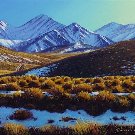 (CreativeWork) Fresh Snow At The Lindis Pass, South Island, New Zealand by Nicola McLeay. Oil Paint. Shop online at Bluethumb.