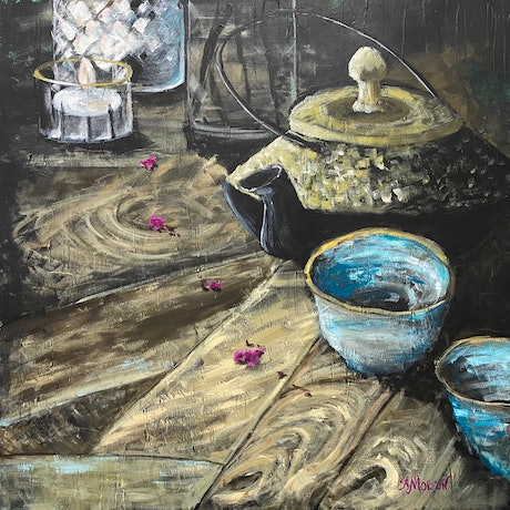 (CreativeWork) Tea ritual by candlelight  by Amanda Morton. Acrylic Paint. Shop online at Bluethumb.