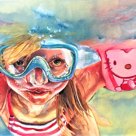(CreativeWork) Hello Kitty by Wilna ten Cate. Oil Paint. Shop online at Bluethumb.