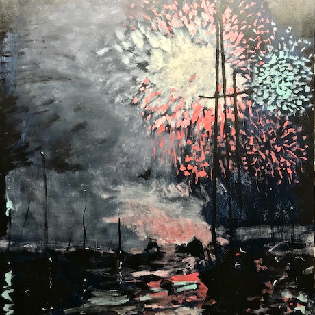 (CreativeWork) Sydney NYE Fireworks 1 by Geoff Hargraves. Oil Paint. Shop online at Bluethumb.