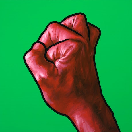 Red fist with black outline on green background.