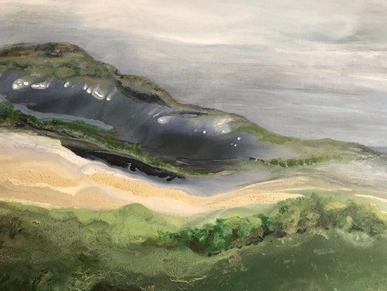 (CreativeWork) Song of the Land and Sea by Jackie Peach. Acrylic Paint. Shop online at Bluethumb.