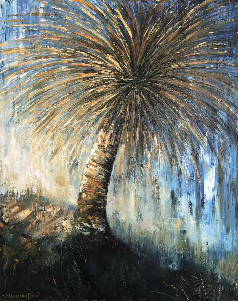 (CreativeWork) Deep Creek Grass Tree by Madeleine Elkin. Oil Paint. Shop online at Bluethumb.