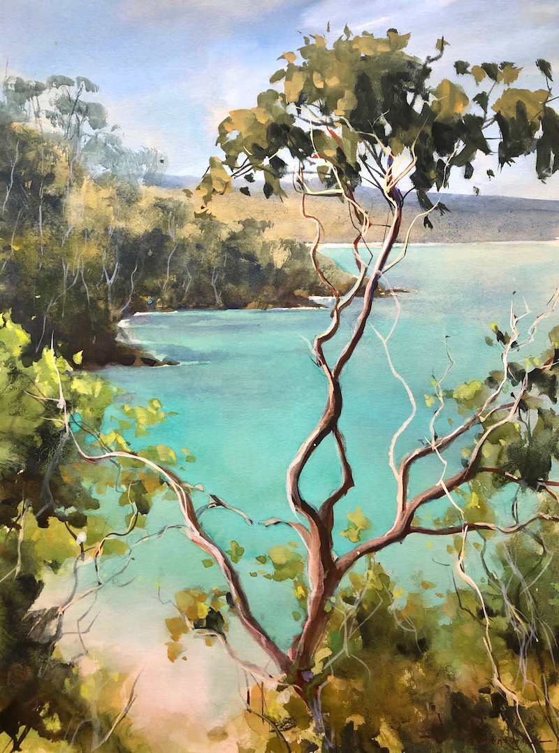 (CreativeWork) Turquoise waters, Tasmania. by Vivi Palegeorge. Watercolour Paint. Shop online at Bluethumb.