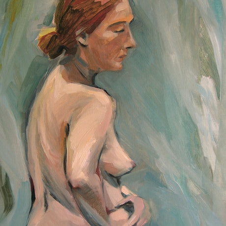 (CreativeWork) Francine standing by Liza Merkalova. Oil Paint. Shop online at Bluethumb.