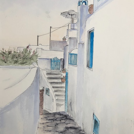 (CreativeWork) Exploring Santorini  by Ann Steer. Watercolour Paint. Shop online at Bluethumb.