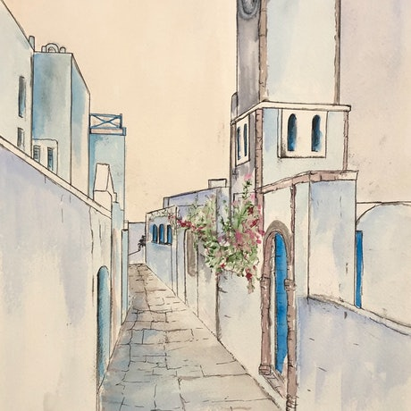 (CreativeWork) Strolling in Santorini  by Ann Steer. Watercolour Paint. Shop online at Bluethumb.