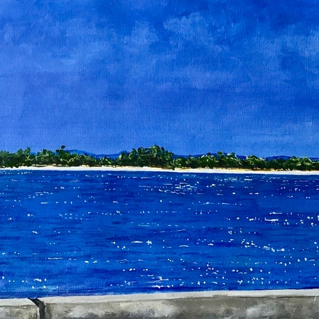(CreativeWork) View From a Bridge by Jenny Mounfield. Acrylic Paint. Shop online at Bluethumb.