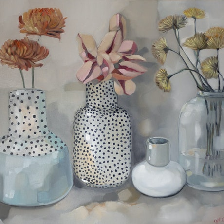 (CreativeWork) Spotted Vase with Flowers by Sam Suttie. Oil Paint. Shop online at Bluethumb.