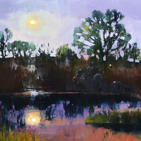 (CreativeWork) Moonrise at the billabong by kirsty mcintyre. Oil Paint. Shop online at Bluethumb.