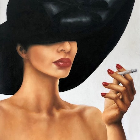 (CreativeWork) Picked A Bad Year To Give Up Smoking by Trisha Lambi. Oil Paint. Shop online at Bluethumb.