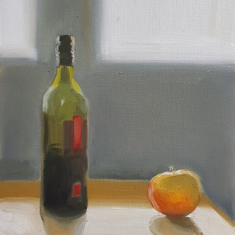 (CreativeWork) Wine with apple by Kevin Song. Oil Paint. Shop online at Bluethumb.