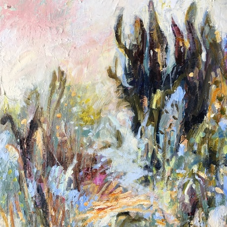 (CreativeWork) A Springlike Spectacle by Nicole Fearfield. Acrylic Paint. Shop online at Bluethumb.