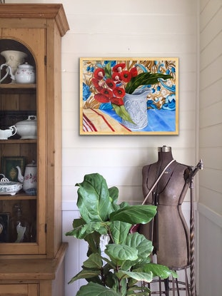 (CreativeWork) Red Gum Blossom and the Antique Stone ware Jug by Alicia Cornwell. Oil Paint. Shop online at Bluethumb.