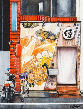 (CreativeWork) Samurai Dining - LARGE limited edition print Ed. 3 of 50 by Erin Nicholls. Print. Shop online at Bluethumb.