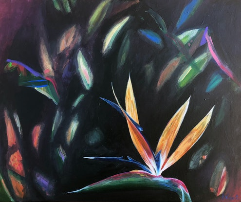 (CreativeWork) Birds of Paradise by Sandra Vincent. Acrylic Paint. Shop online at Bluethumb.