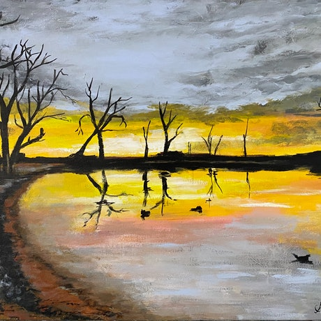 (CreativeWork) Aussie dusk by Amanda Morton. Acrylic Paint. Shop online at Bluethumb.