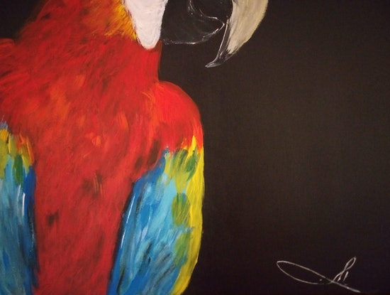 (CreativeWork) Scarlet Macaw - Colorful Parrot  by Ilanit Pocock (Vanu). Acrylic Paint. Shop online at Bluethumb.
